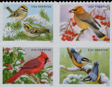 Scott 5129a — (47c) Songbirds in Snow Double Sided Booklet Block of 4
